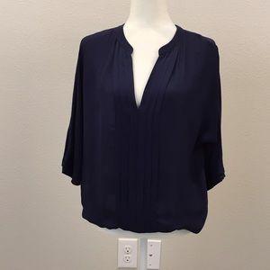 Joie Navy Blue Silk Blouse Size M